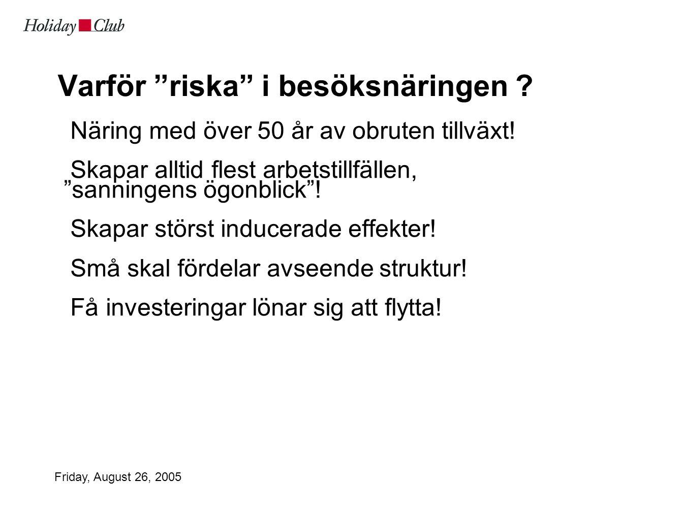Friday, August 26, 2005 Varför riska i besöksnäringen .