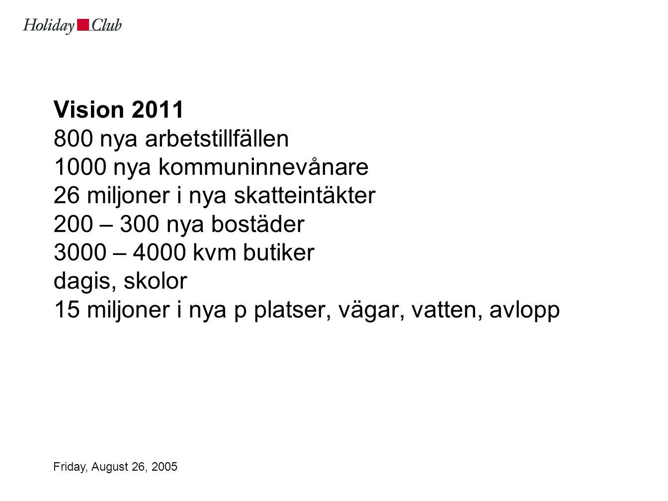 Friday, August 26, 2005 Vision 2011 800 nya arbetstillfällen 1000 nya kommuninnevånare 26 miljoner i nya skatteintäkter 200 – 300 nya bostäder 3000 – 4000 kvm butiker dagis, skolor 15 miljoner i nya p platser, vägar, vatten, avlopp