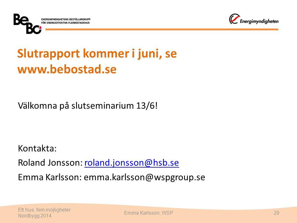 Slutrapport kommer i juni, se www.bebostad.se Välkomna på slutseminarium 13/6! Kontakta: Roland Jonsson: roland.jonsson@hsb.seroland.jonsson@hsb.se Em