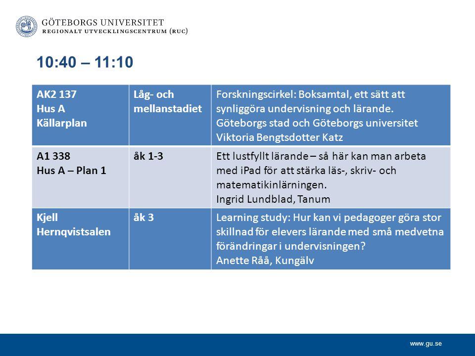 www.gu.se 10:40 – 11:10 AK2 137 Hus A Källarplan Låg- och mellanstadiet Forskningscirkel: Boksamtal, ett sätt att synliggöra undervisning och lärande.