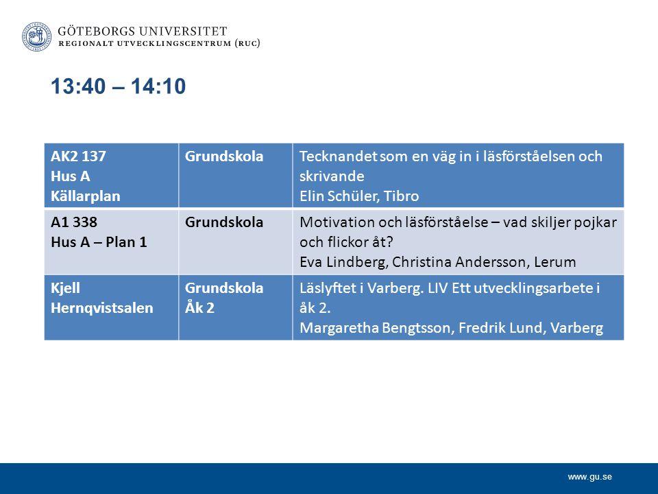 www.gu.se 13:40 – 14:10 AK2 137 Hus A Källarplan GrundskolaTecknandet som en väg in i läsförståelsen och skrivande Elin Schüler, Tibro A1 338 Hus A –