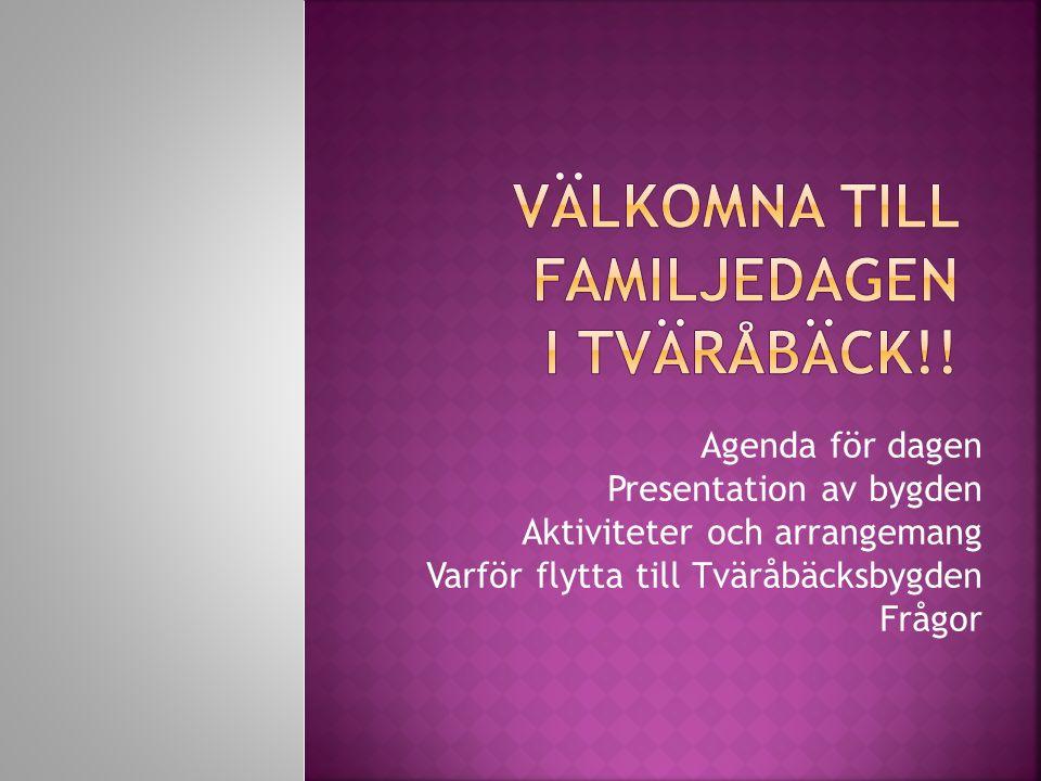 Agenda för dagen Presentation av bygden Aktiviteter och arrangemang Varför flytta till Tväråbäcksbygden Frågor