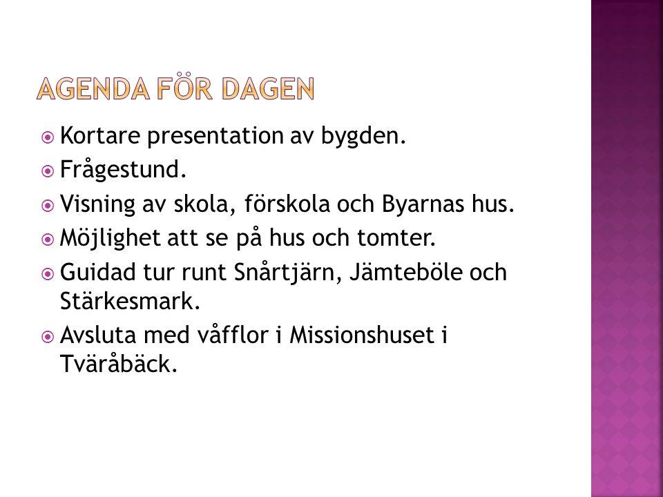 Kortare presentation av bygden.  Frågestund.  Visning av skola, förskola och Byarnas hus.