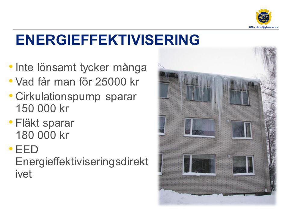 ENERGIEFFEKTIVISERING • Inte lönsamt tycker många • Vad får man för 25000 kr • Cirkulationspump sparar 150 000 kr • Fläkt sparar 180 000 kr • EED Energieffektiviseringsdirekt ivet