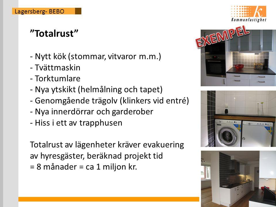 Lagersberg- BEBO Totalrust - Nytt kök (stommar, vitvaror m.m.) - Tvättmaskin - Torktumlare - Nya ytskikt (helmålning och tapet) - Genomgående trägolv (klinkers vid entré) - Nya innerdörrar och garderober - Hiss i ett av trapphusen Totalrust av lägenheter kräver evakuering av hyresgäster, beräknad projekt tid = 8 månader = ca 1 miljon kr.