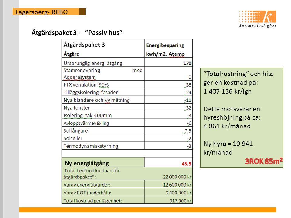 Lagersberg- BEBO Åtgärdspaket 3 – Passiv hus Totalrustning och hiss ger en kostnad på: 1 407 136 kr/lgh Detta motsvarar en hyreshöjning på ca: 4 861 kr/månad Ny hyra = 10 941 kr/månad