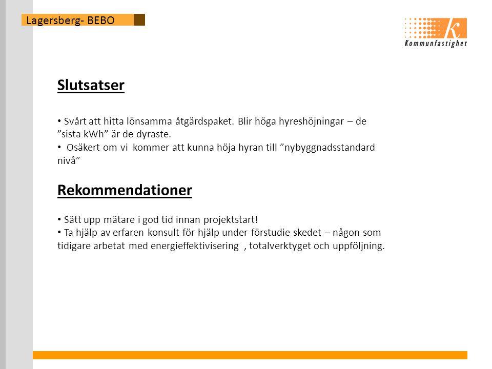 Lagersberg- BEBO Slutsatser • Svårt att hitta lönsamma åtgärdspaket.
