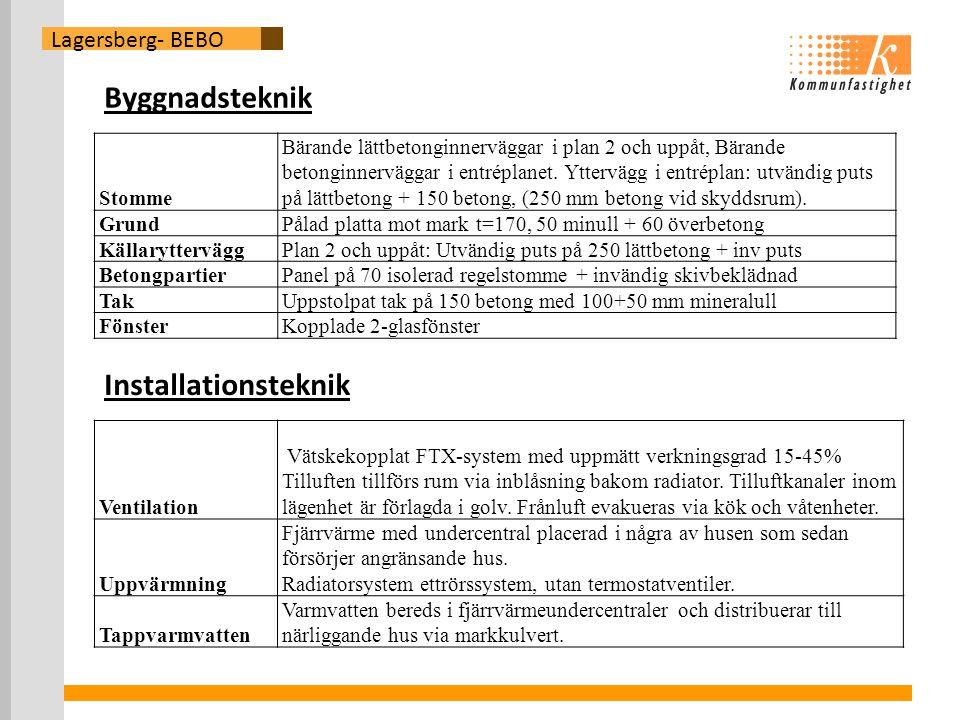 Lagersberg- BEBO Byggnadsteknik Stomme Bärande lättbetonginnerväggar i plan 2 och uppåt, Bärande betonginnerväggar i entréplanet.