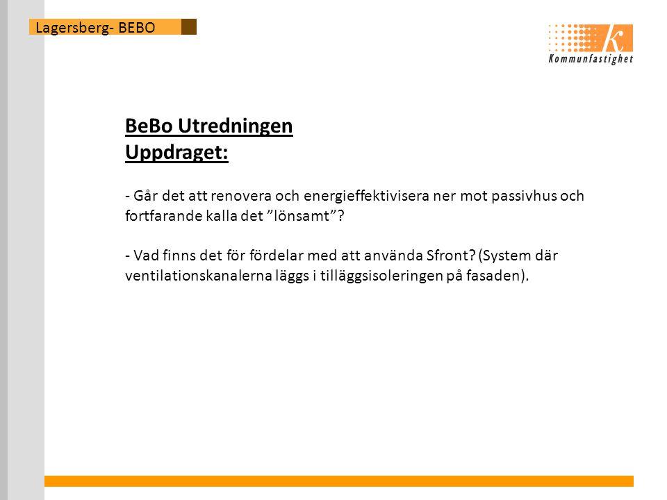 Lagersberg- BEBO BeBo Utredningen Uppdraget: - Går det att renovera och energieffektivisera ner mot passivhus och fortfarande kalla det lönsamt .