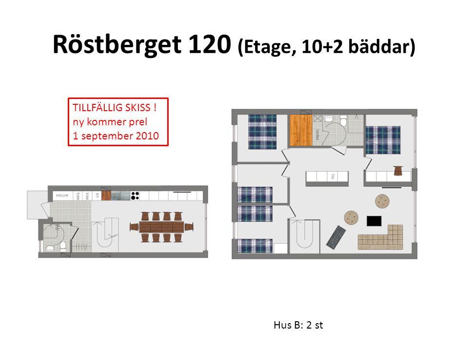 Röstberget 120 (Etage, 10+2 bäddar) Hus B: 2 st TILLFÄLLIG SKISS ! ny kommer prel 1 september 2010
