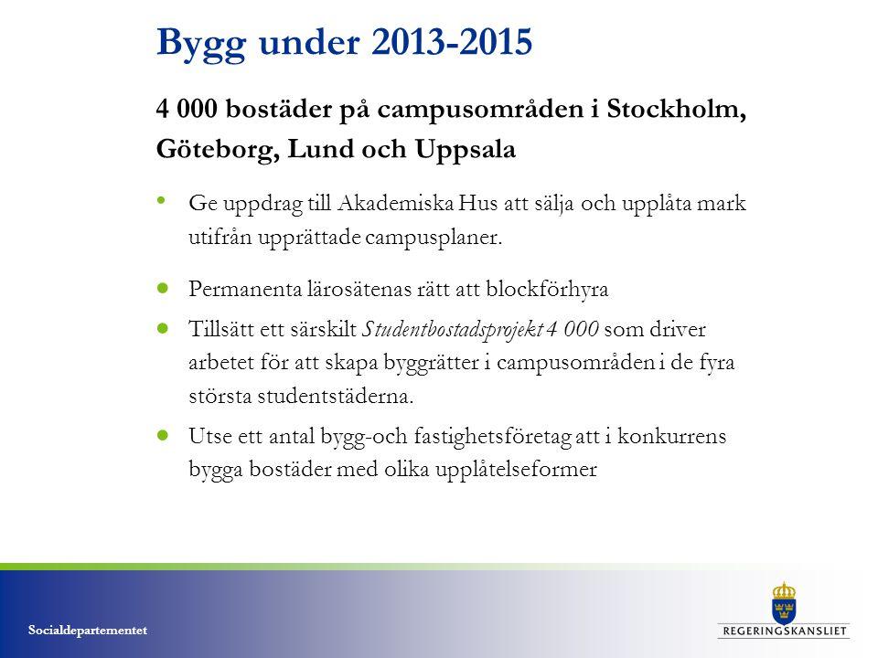 Socialdepartementet Bygg under 2013-2015 4 000 bostäder på campusområden i Stockholm, Göteborg, Lund och Uppsala • Ge uppdrag till Akademiska Hus att