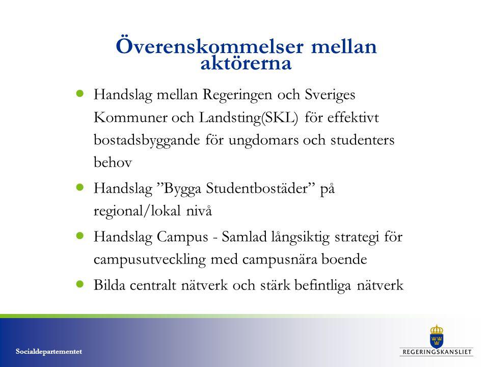 Socialdepartementet Överenskommelser mellan aktörerna  Handslag mellan Regeringen och Sveriges Kommuner och Landsting(SKL) för effektivt bostadsbygga