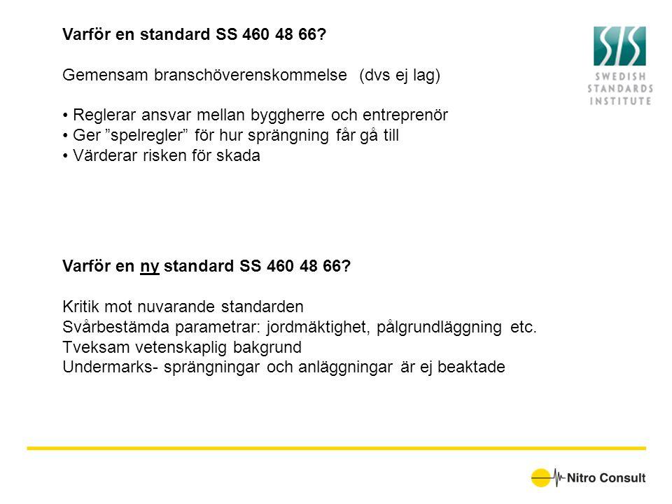 """Varför en standard SS 460 48 66? Gemensam branschöverenskommelse (dvs ej lag) • Reglerar ansvar mellan byggherre och entreprenör • Ger """"spelregler"""" fö"""