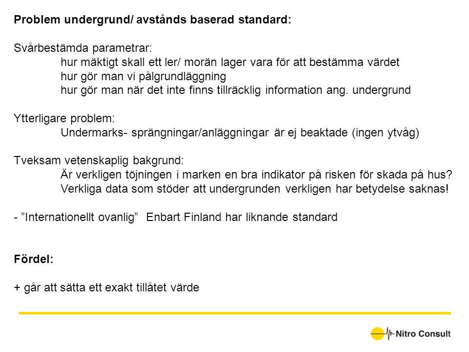 Problem undergrund/ avstånds baserad standard: Svårbestämda parametrar: hur mäktigt skall ett ler/ morän lager vara för att bestämma värdet hur gör ma