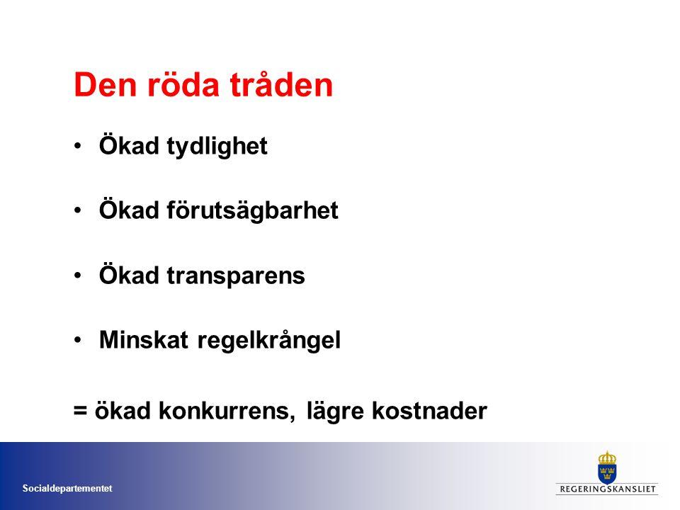 Socialdepartementet Den röda tråden •Ökad tydlighet •Ökad förutsägbarhet •Ökad transparens •Minskat regelkrångel = ökad konkurrens, lägre kostnader