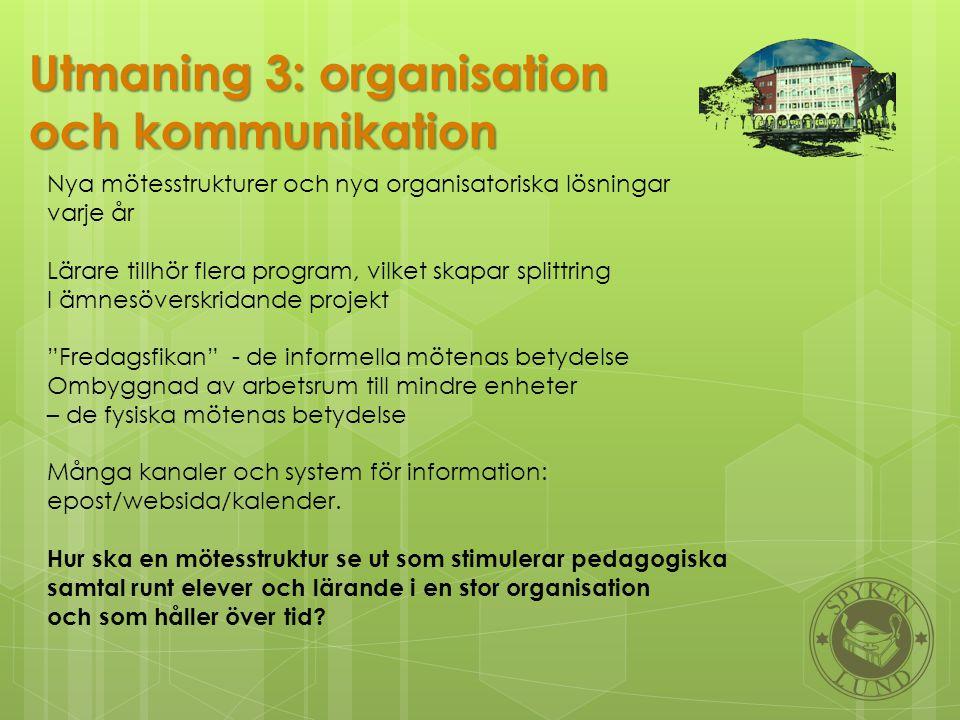 Utmaning 3: organisation och kommunikation Nya mötesstrukturer och nya organisatoriska lösningar varje år Lärare tillhör flera program, vilket skapar