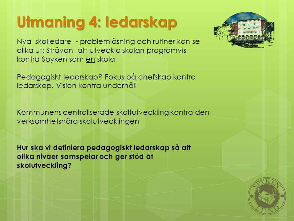 Utmaning 4: ledarskap Nya skolledare - problemlösning och rutiner kan se olika ut: Strävan att utveckla skolan programvis kontra Spyken som en skola P