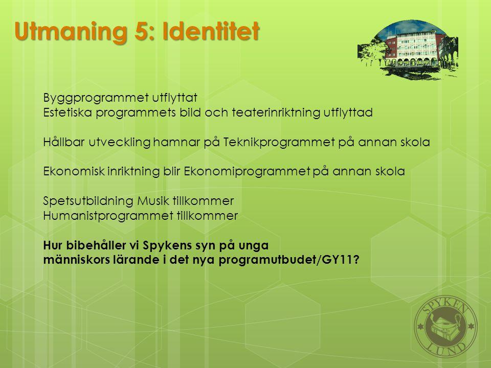 Utmaning 5: Identitet Byggprogrammet utflyttat Estetiska programmets bild och teaterinriktning utflyttad Hållbar utveckling hamnar på Teknikprogrammet