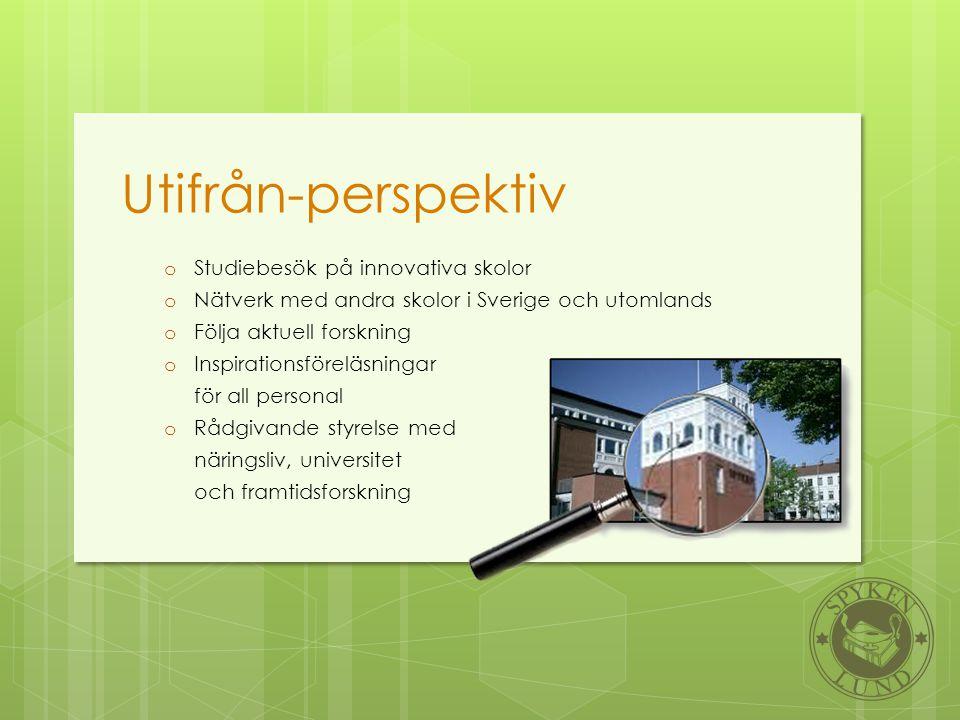 Utifrån-perspektiv o Studiebesök på innovativa skolor o Nätverk med andra skolor i Sverige och utomlands o Följa aktuell forskning o Inspirationsförel