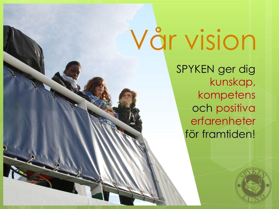 SPYKEN ger dig kunskap, kompetens och positiva erfarenheter för framtiden! Vår vision