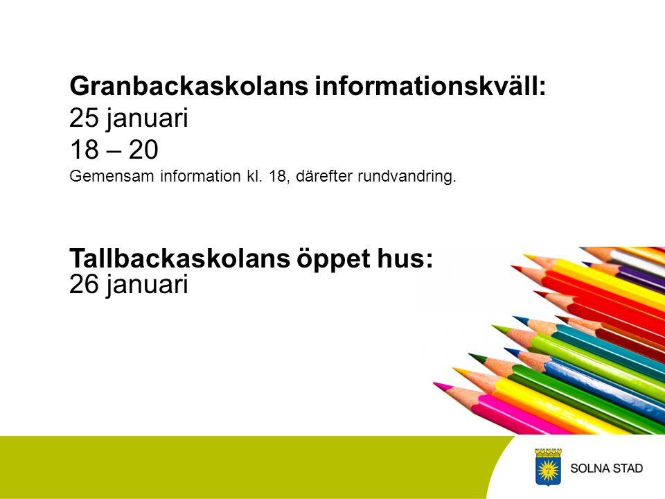 Granbackaskolans informationskväll: 25 januari 18 – 20 Gemensam information kl.