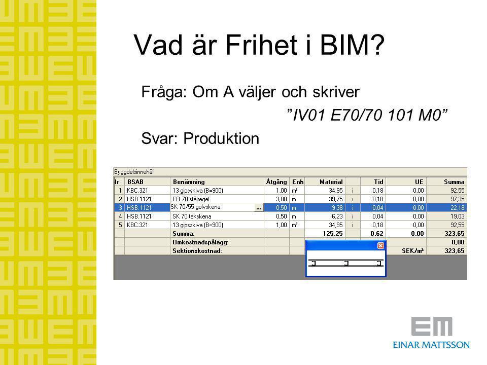 """Vad är Frihet i BIM? Fråga: Om A väljer och skriver """"IV01 E70/70 101 M0"""" Svar: Produktion"""