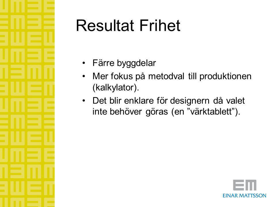 Resultat Frihet •Färre byggdelar •Mer fokus på metodval till produktionen (kalkylator). •Det blir enklare för designern då valet inte behöver göras (e
