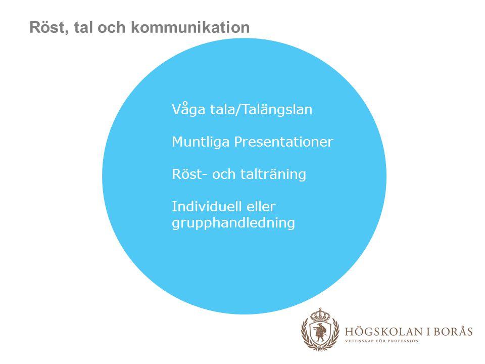 Röst, tal och kommunikation Våga tala/Talängslan Muntliga Presentationer Röst- och talträning Individuell eller grupphandledning