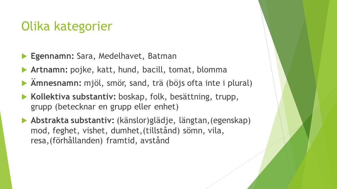 Olika kategorier  Egennamn: Sara, Medelhavet, Batman  Artnamn: pojke, katt, hund, bacill, tomat, blomma  Ämnesnamn: mjöl, smör, sand, trä (böjs oft
