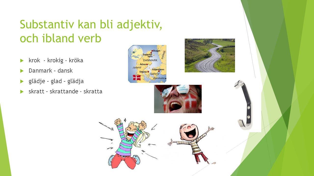 Substantiv kan bli adjektiv, och ibland verb  krok- krokig - kröka  Danmark – dansk  glädje – glad – glädja  skratt – skrattande - skratta