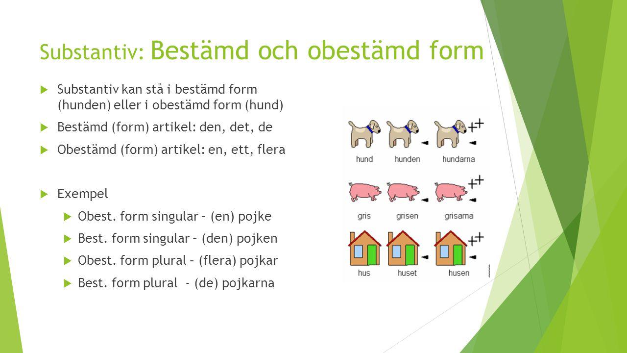 Substantiv: Bestämd och obestämd form  Substantiv kan stå i bestämd form (hunden) eller i obestämd form (hund)  Bestämd (form) artikel: den, det, de
