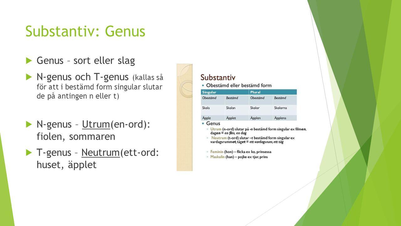 Substantiv: Genus  Genus – sort eller slag  N-genus och T-genus (kallas så för att i bestämd form singular slutar de på antingen n eller t)  N-genu