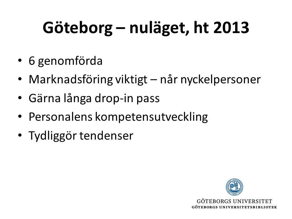 Göteborg – nuläget, ht 2013 • 6 genomförda • Marknadsföring viktigt – når nyckelpersoner • Gärna långa drop-in pass • Personalens kompetensutveckling • Tydliggör tendenser