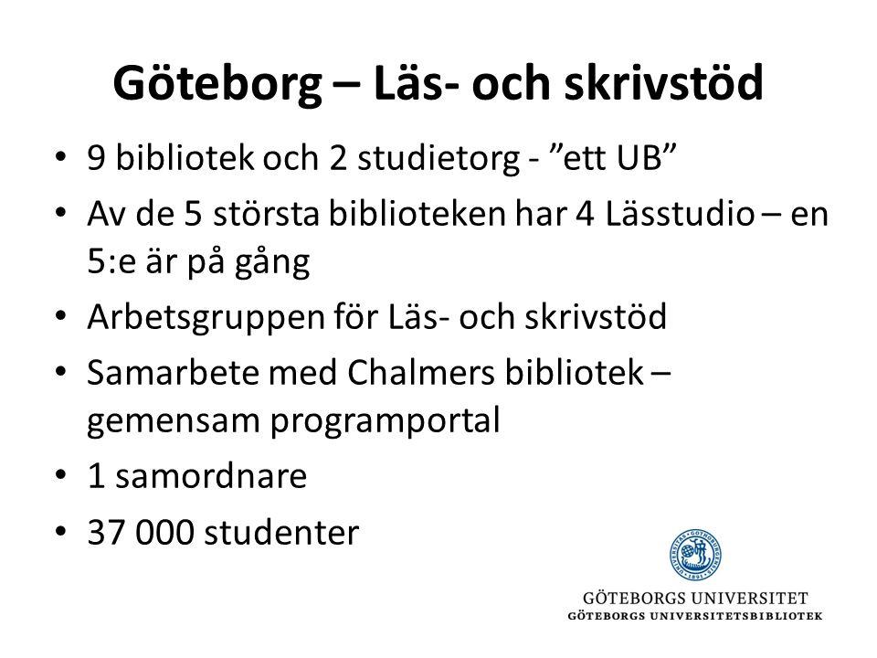 Göteborg – Läs- och skrivstöd • 9 bibliotek och 2 studietorg - ett UB • Av de 5 största biblioteken har 4 Lässtudio – en 5:e är på gång • Arbetsgruppen för Läs- och skrivstöd • Samarbete med Chalmers bibliotek – gemensam programportal • 1 samordnare • 37 000 studenter