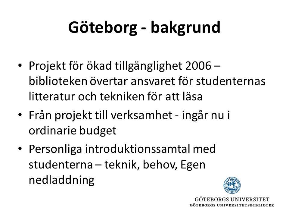 Göteborg - bakgrund • Projekt för ökad tillgänglighet 2006 – biblioteken övertar ansvaret för studenternas litteratur och tekniken för att läsa • Från projekt till verksamhet - ingår nu i ordinarie budget • Personliga introduktionssamtal med studenterna – teknik, behov, Egen nedladdning