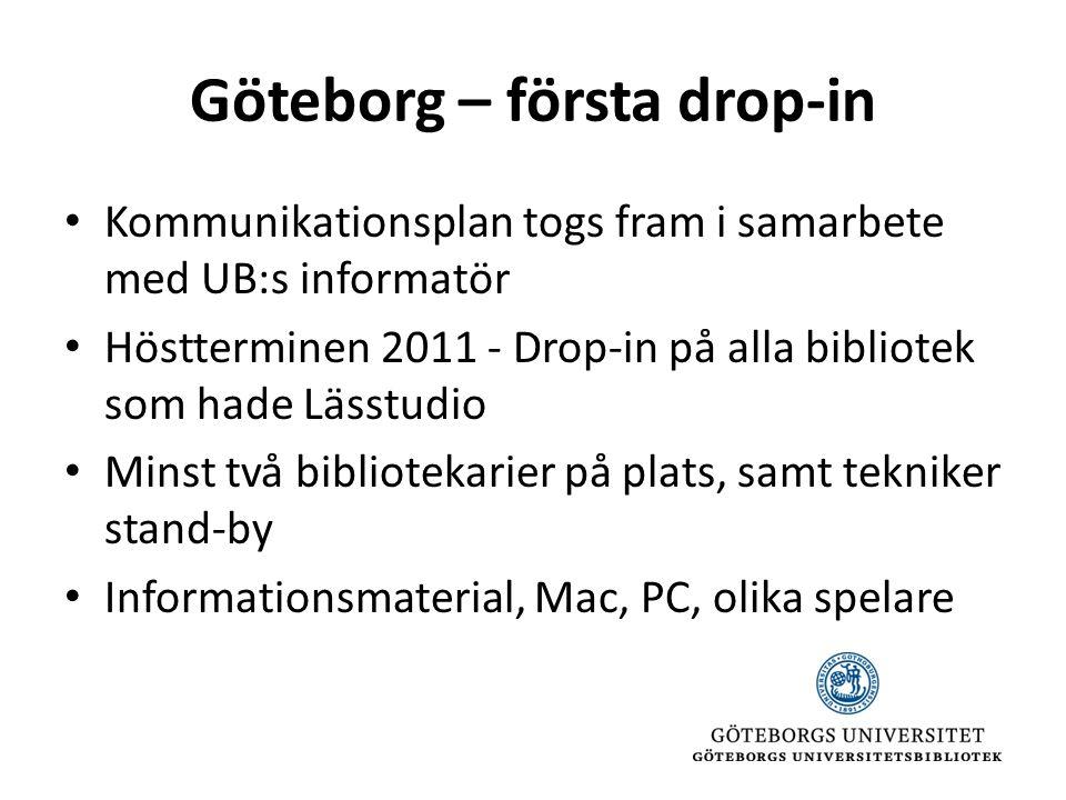 Göteborg – första drop-in • Kommunikationsplan togs fram i samarbete med UB:s informatör • Höstterminen 2011 - Drop-in på alla bibliotek som hade Lässtudio • Minst två bibliotekarier på plats, samt tekniker stand-by • Informationsmaterial, Mac, PC, olika spelare
