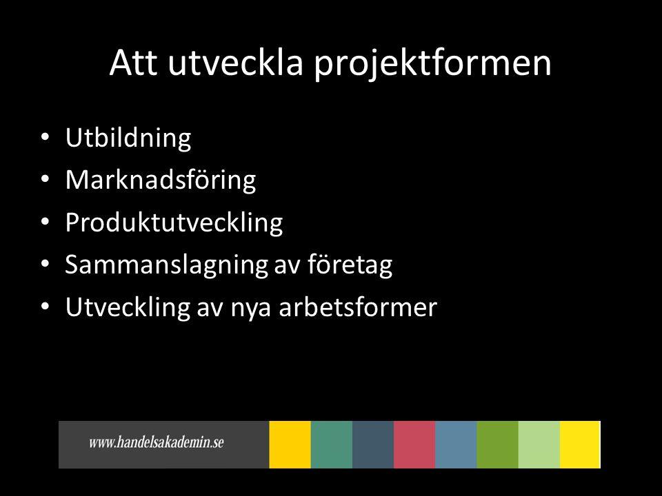 Att utveckla projektformen • Utbildning • Marknadsföring • Produktutveckling • Sammanslagning av företag • Utveckling av nya arbetsformer