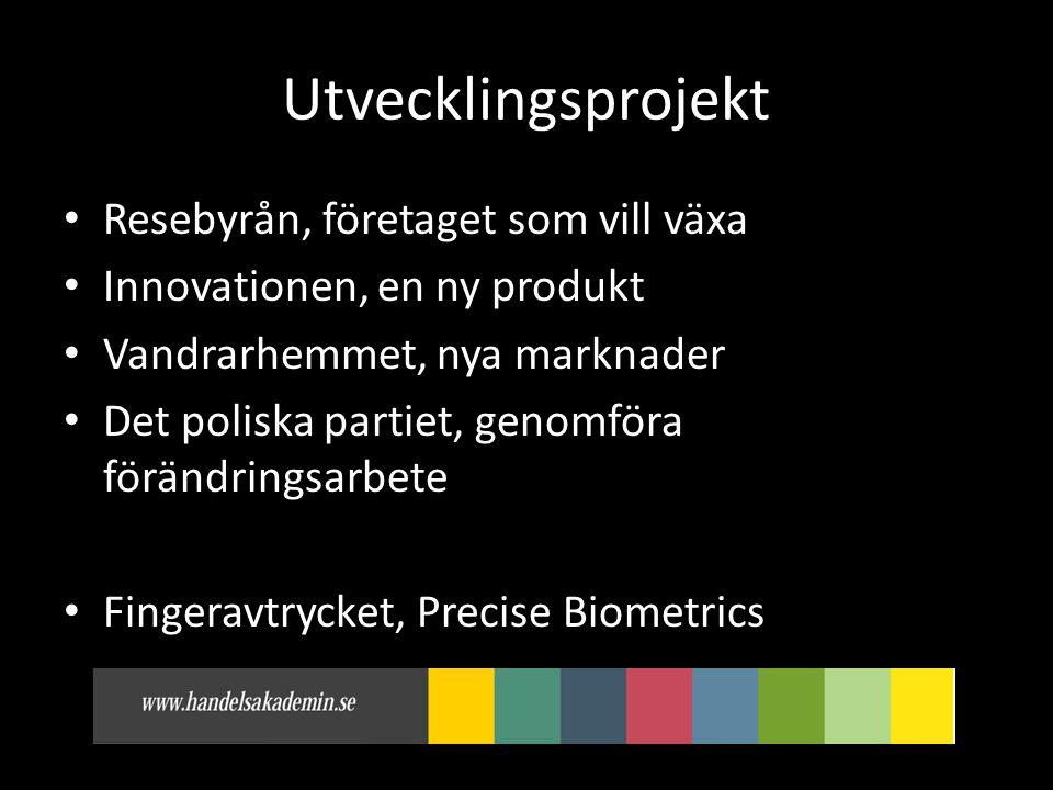 Utvecklingsprojekt • Resebyrån, företaget som vill växa • Innovationen, en ny produkt • Vandrarhemmet, nya marknader • Det poliska partiet, genomföra förändringsarbete • Fingeravtrycket, Precise Biometrics