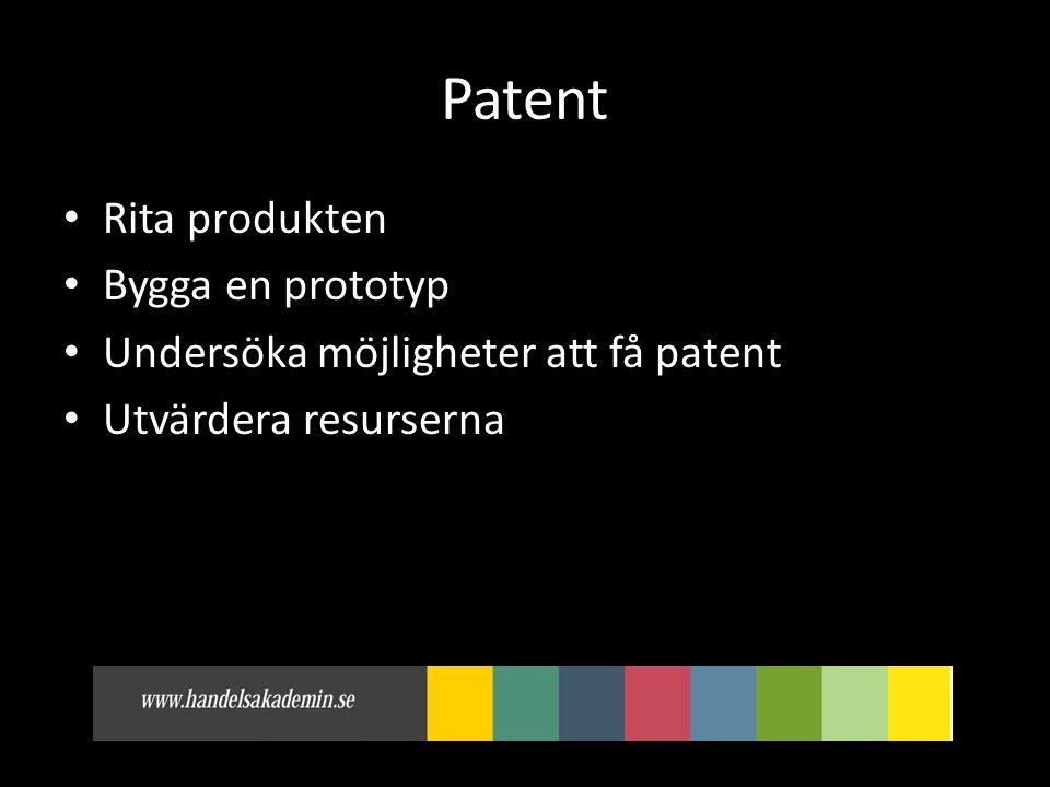 Patent • Rita produkten • Bygga en prototyp • Undersöka möjligheter att få patent • Utvärdera resurserna