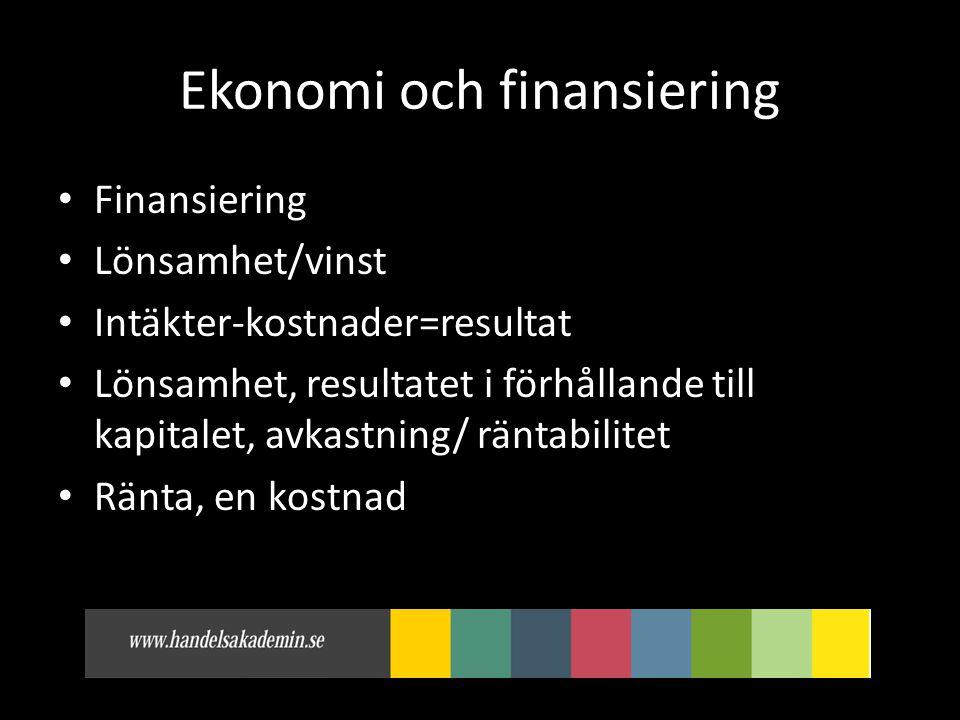 Ekonomi och finansiering • Finansiering • Lönsamhet/vinst • Intäkter-kostnader=resultat • Lönsamhet, resultatet i förhållande till kapitalet, avkastning/ räntabilitet • Ränta, en kostnad