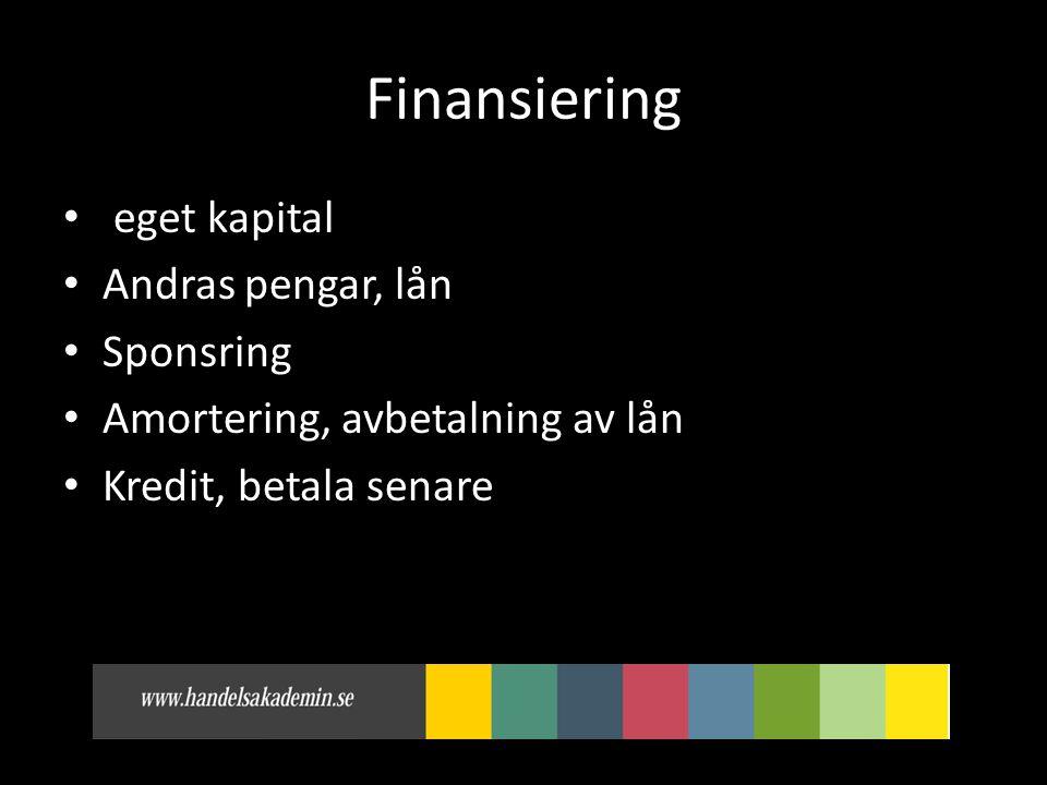 Finansiering • eget kapital • Andras pengar, lån • Sponsring • Amortering, avbetalning av lån • Kredit, betala senare