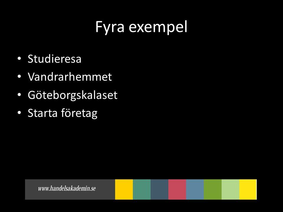 Fyra exempel • Studieresa • Vandrarhemmet • Göteborgskalaset • Starta företag