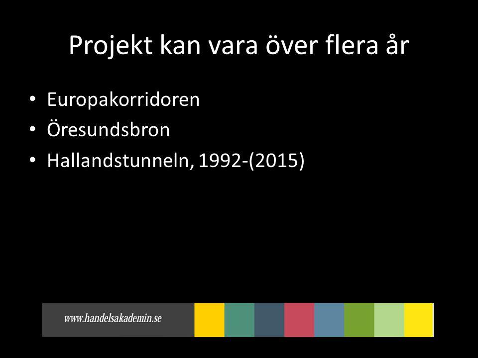 Projekt kan vara över flera år • Europakorridoren • Öresundsbron • Hallandstunneln, 1992-(2015)