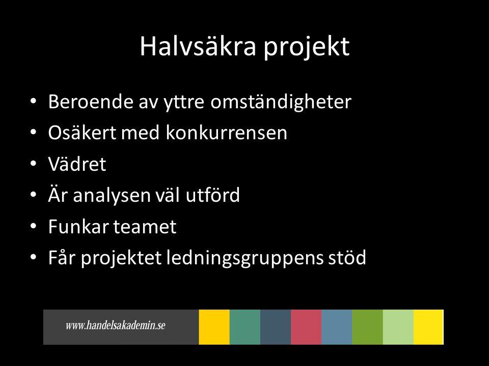 Halvsäkra projekt • Beroende av yttre omständigheter • Osäkert med konkurrensen • Vädret • Är analysen väl utförd • Funkar teamet • Får projektet ledningsgruppens stöd