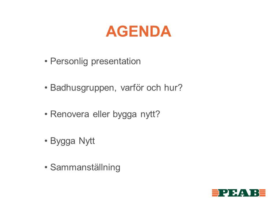 AGENDA • Personlig presentation • Badhusgruppen, varför och hur.