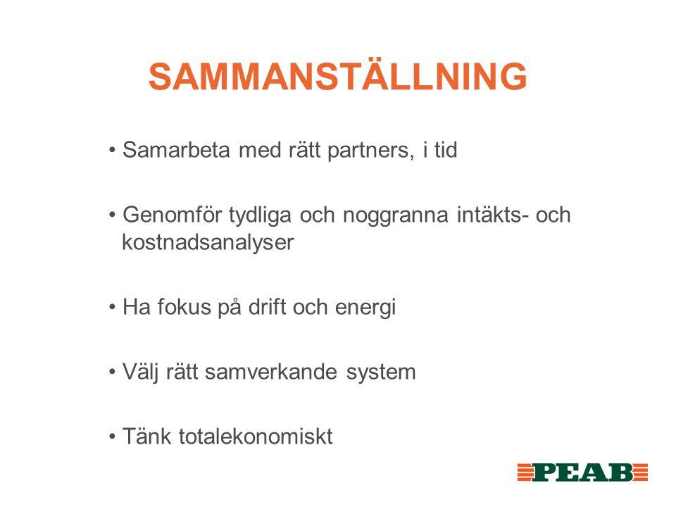 SAMMANSTÄLLNING • Samarbeta med rätt partners, i tid • Genomför tydliga och noggranna intäkts- och kostnadsanalyser • Ha fokus på drift och energi • V