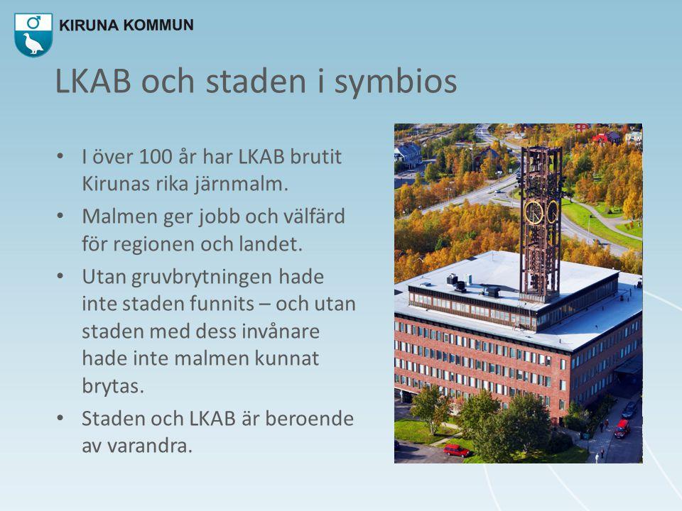 LKAB och staden i symbios • I över 100 år har LKAB brutit Kirunas rika järnmalm. • Malmen ger jobb och välfärd för regionen och landet. • Utan gruvbry