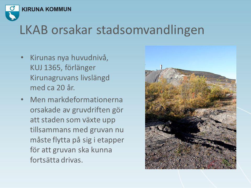 LKAB orsakar stadsomvandlingen • Kirunas nya huvudnivå, KUJ 1365, förlänger Kirunagruvans livslängd med ca 20 år. • Men markdeformationerna orsakade a