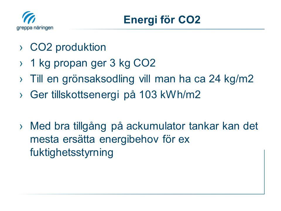 Energi för CO2 ›CO2 produktion ›1 kg propan ger 3 kg CO2 ›Till en grönsaksodling vill man ha ca 24 kg/m2 ›Ger tillskottsenergi på 103 kWh/m2 ›Med bra