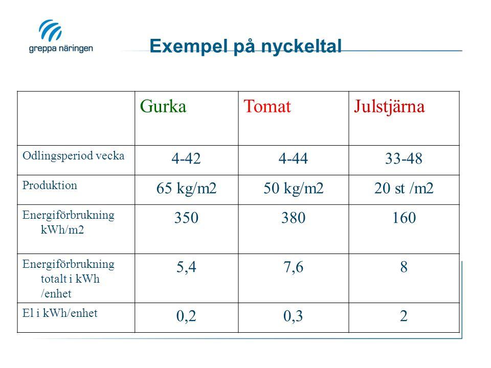 Exempel på nyckeltal GurkaTomatJulstjärna Odlingsperiod vecka 4-424-4433-48 Produktion 65 kg/m250 kg/m220 st /m2 Energiförbrukning kWh/m2 350380160 En